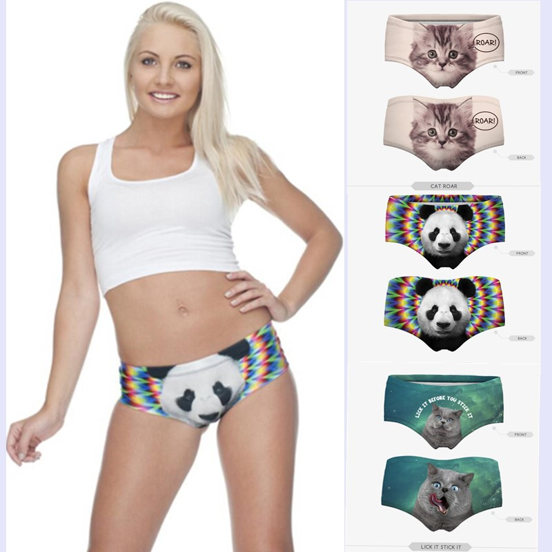 2016 3D Cats Print 18 Designs Sexy Panties Underwear Women High Quality New Brand Sexy Underwear Fashion Seamless Briefs PY227(China (Mainland))