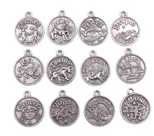 Buy 48PCS Assorted Antiqued Silver Color Zodiac Charm Pendants #92235 for $8.64 in AliExpress store