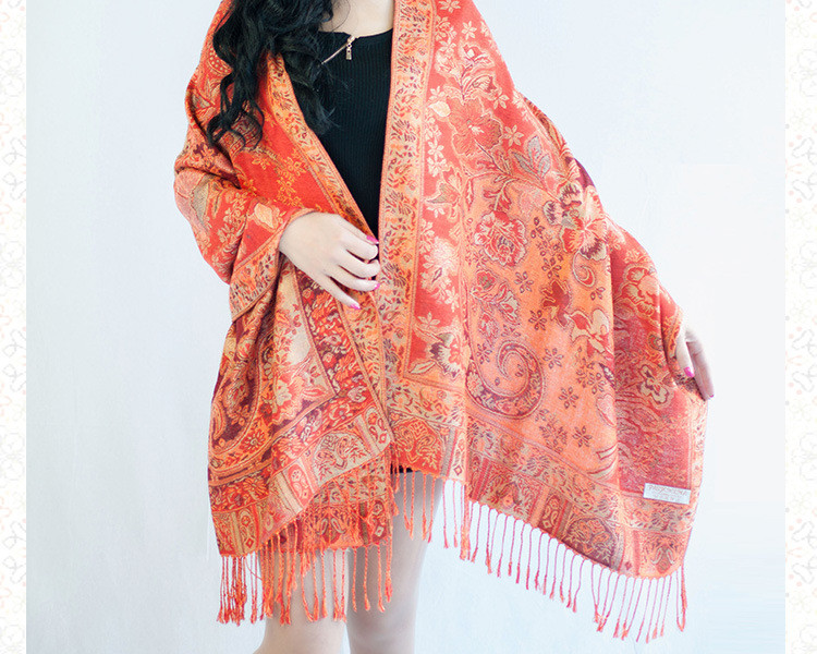 Winter Scarves for Women 2016 Ethnic Cashew Flower Jacquard Long Scarf Ladies Tassels Blanket Scarf Fringes Cotton Shawls Stoles