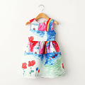 Girls Dresses Baby Girl Clothes Character Painting 2015 Brand New Christmas Costumes Graffiti Vest Dress for