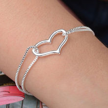 Brand New Hot Silver Heart Love charm bracelets Silver Chain bracelets for  Lady Women Girl fashion Jewelry Gift(China (Mainland))