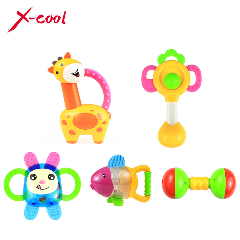 xc8853-1 5pcs/Set baby bell bottle rattles/baby toys 0-1year old newborn teethers baby hand rattle(China (Mainland))