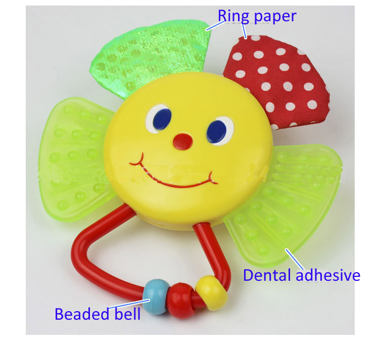1pc New colorful sunflower baby hand rattles with ring paper baby teether play toy gifts for kids(China (Mainland))