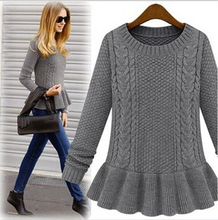 New arrival 2015 autumn and winter fashion vintage skirt twist o-neck sweater female pullover sweater women Hot sales(China (Mainland))