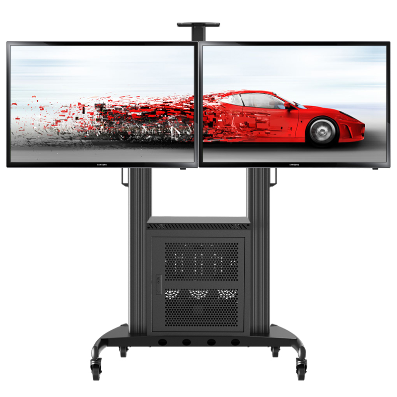 "LCD TV Mobile Cart Mount Floor Stand Dual Display Rack 46"" - 60"" TV Meeting Room TV Mount Removable TV Mount Upright Mount(China (Mainland))"