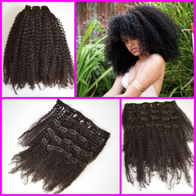 Гаджет  10Pcs per set,4a/4b/3c afro kinky curly Malaysian virgin hair kinky curly clip in hair extensions None Волосы и аксессуары