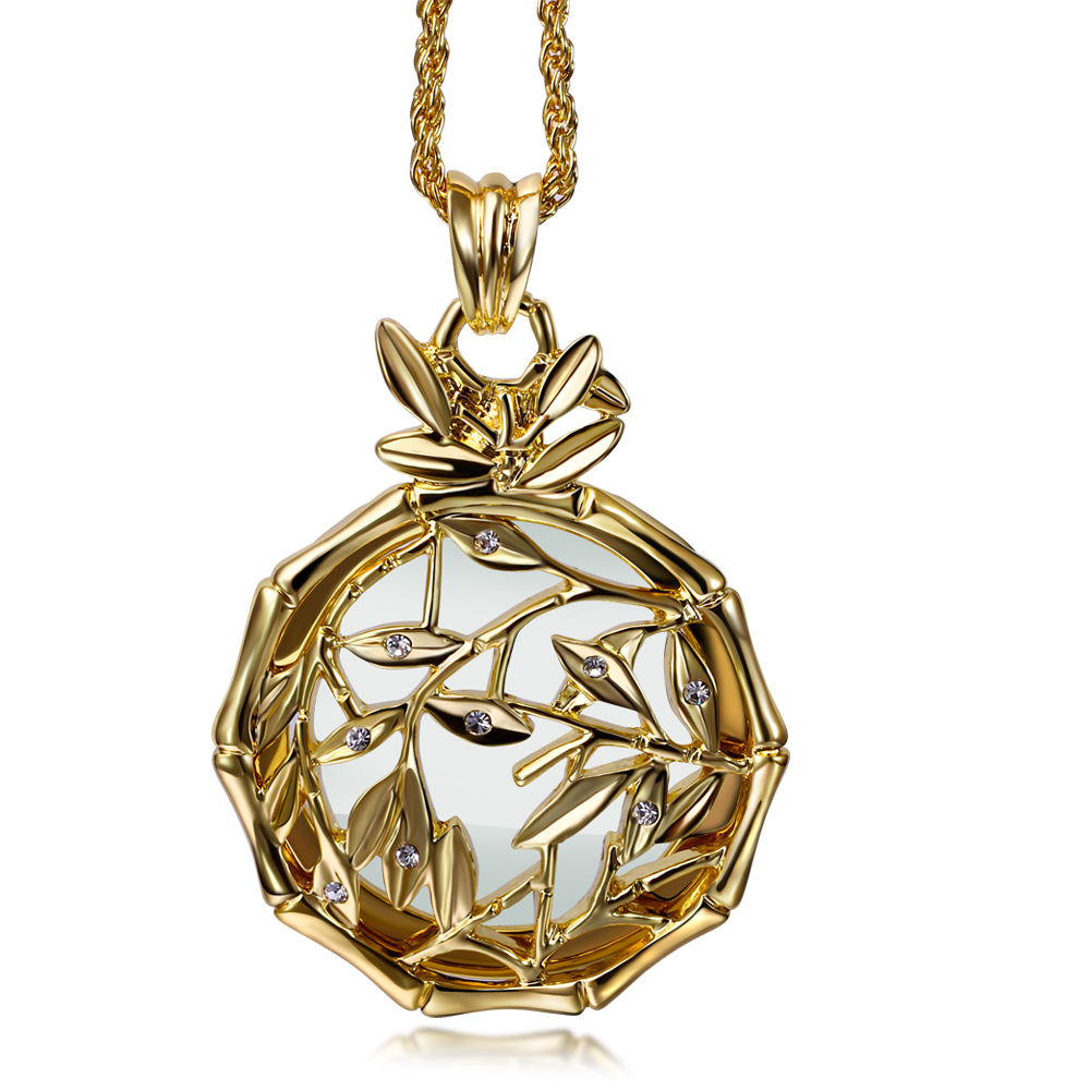 New look Flower Reading Glass Crystals Necklace 2x Magnifying Glass Pendant Women 65cm Long Chain Necklaces Platinum&Gold Plated(China (Mainland))