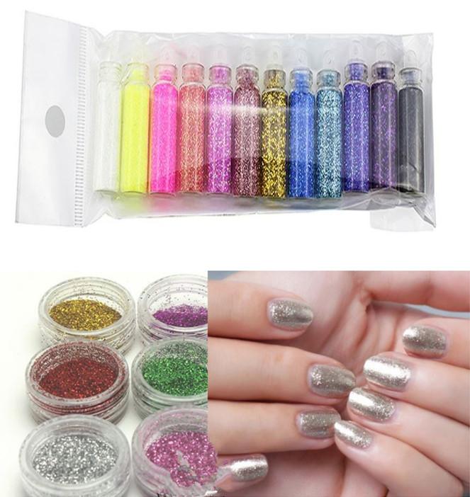 Shiny Mixed 12 Color/set Nail Glitter Powder Sequins with Laser Nail Polish Decoration Nail Sticker Art Powder Kit Bottle Set(China (Mainland))
