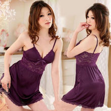 Hot Sexy Women Satin Lace Robe Sleepwear Lingerie Nightdress G-string Pajamas(China (Mainland))