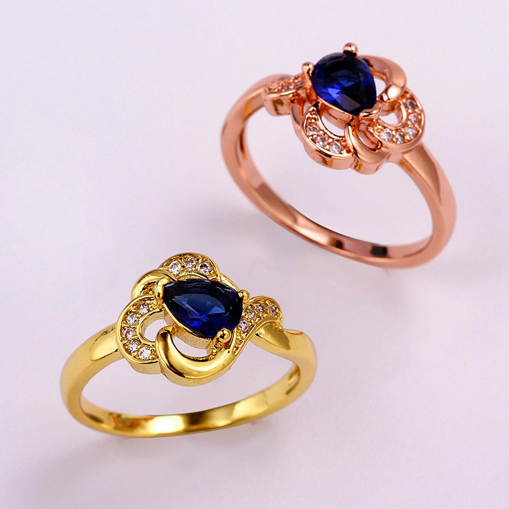 Yellow Gold Rose Gold Plated Rings For Women Luxury Blue Water Drop Shaped Brilliant Cut CZ crystal Wedding Ring(China (Mainland))