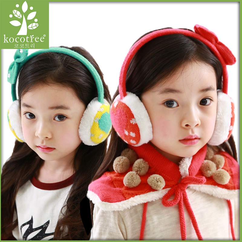 Kocotree winter earflaps girls earmuffs cotton knitted lovely bow-knot heart design warm earmuffs 3 color yellow green orange(China (Mainland))