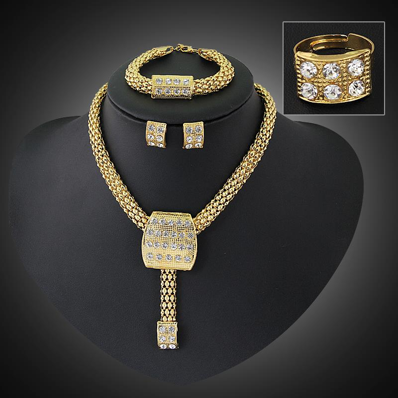 Crystal Wedding Dress Accessories Costume Women Party 18K Gold Plated African Beads Jewelry Sets Necklace Bangle Earrings Ring(China (Mainland))