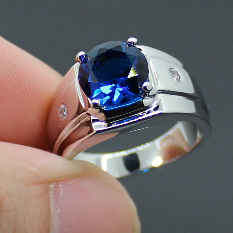 aliexpresscom buy mens silver round blue sapphire with
