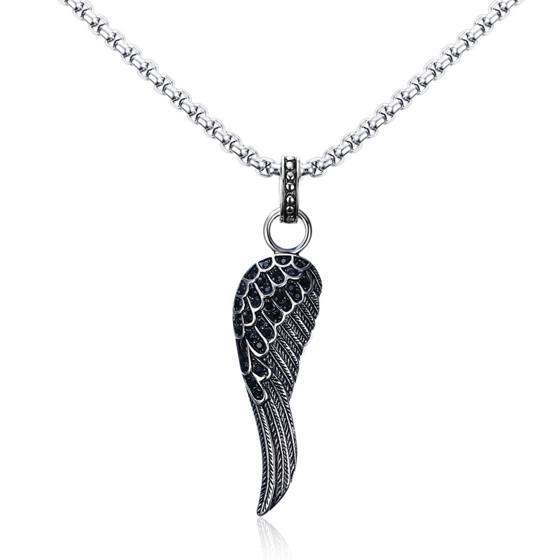 Mprainbow Mens Necklaces Pendants Stainless Steel Angel Wing Pendant Choke Inlay Black CZ Vintage Gothic Punk Bike Men Jewelrly(China (Mainland))