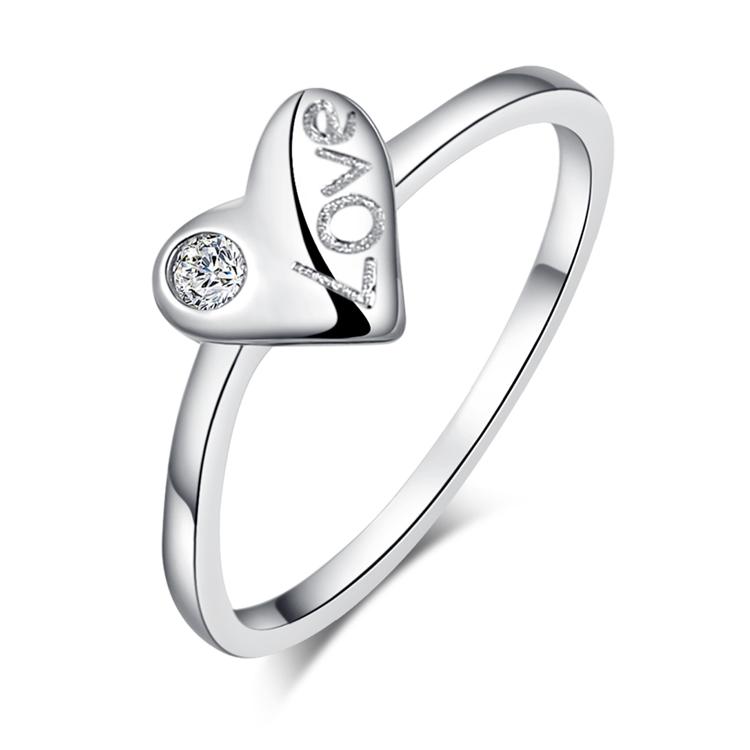 S925 silver ring zirconium diamond finger ring brief heart women s pinky