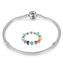 Wholesale New European Style Pandora Bracelet Silver Plated Charm Fit Bracelet For Women&Men Chain With Love Logo Free Shipping(China (Mainland))