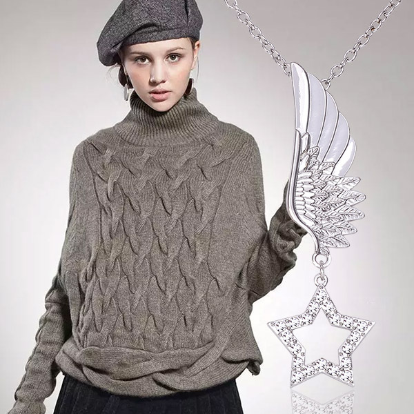 New Fashion Joyas Silver a Angel Wings With a star sweater Necklace Bijoux women Long Necklace for gifts T1617(China (Mainland))