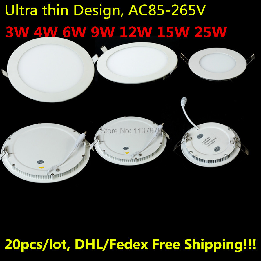 3W 4W 6W 9W 12W 15W 25W LED Ceiling recessed downlight/round LED Panel Light 20pcs/lot DHL/Fedex Free shipping(China (Mainland))