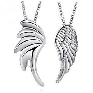 DALI Newest Design Fly Wing Design 925 Silver Men Women Love Couple Necklace on 3 Layer Platinum Plated 2 Piece/Set PN27(China (Mainland))
