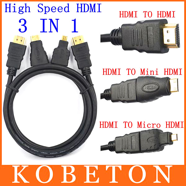 Full HD 3 In 1 HDMI TO HDMI Mini HDMI Micro HDMI Cable V1.4 Gold-plating Adapter Converter for Xbox 360 HDTV 1080P Mobile etc(China (Mainland))