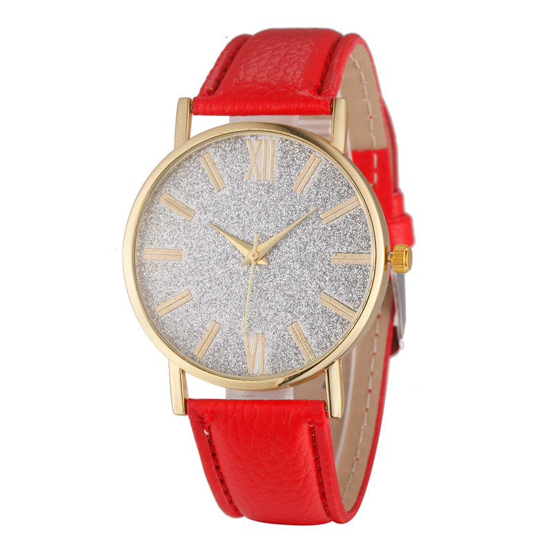 New Arrival Students Campus Wind Flash Powder Design Casual Leather Band Women Fashion Simple Quartz Watch Gifts (WJ-5386)(China (Mainland))