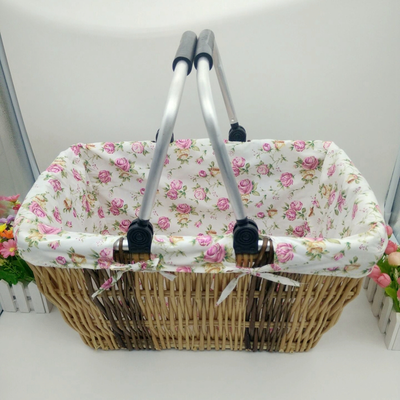 Willow baskets car fabric supermarket shopping basket Japanese Style storage basket folding box foodpicnic basket container(China (Mainland))