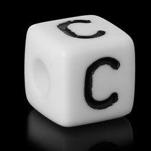"Buy 8SEASONS Acrylic Spacer Beads Square White Letter Pattern ""C"" 10mm (3/8"") x 10mm (3/8""),Hole: Approx 4mm,100 Pcs for $5.78 in AliExpress store"
