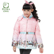 PCORA High Quality Brand Children Clothes Girls Outerwear Down Coat Winter Thick Keep Warm Zipper Hooded Kids Girls Clothes