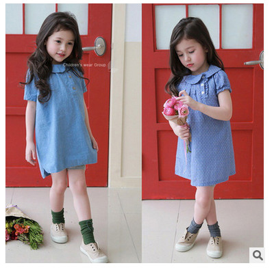 Koreal style fashion kids cotton dress High quality Knee length denim pullover Dot girl dress 2016 new design <br><br>Aliexpress