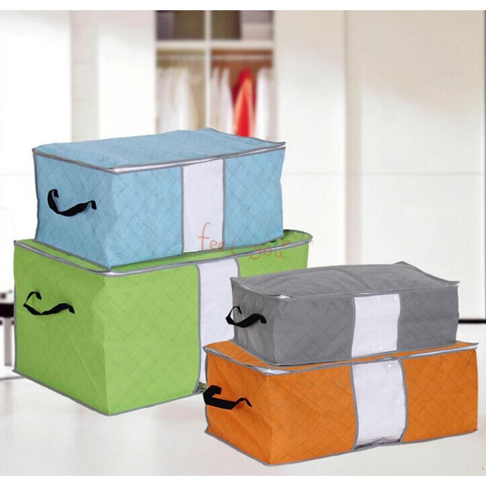 M-XL Foldable Zipped Handles Tidy Storage Bag Pouch For Closet Organizer(China (Mainland))