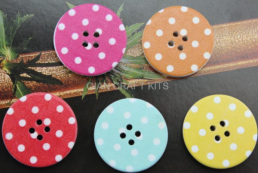 150 pcs big 30mm polka dots font b chequer b font floral kawaii cute Round wooden