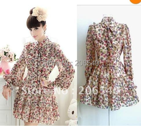 Free shipping  Womens Bow Ribbon Tie Neck Long-Sleeved Flouncing Trim Floral Chiffon Dress