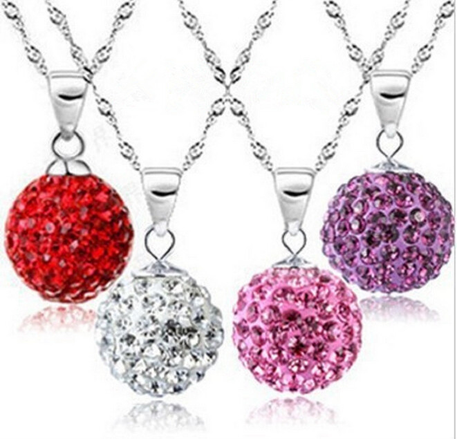 Fashion Beads Pendants Necklaces Women Crystal Ball Silver Plated Pendants Jewelry 19 colors Charm Necklace Pendants Wholesale(China (Mainland))