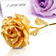 24k Gold Foil Plated Rose Kunstbloemen Wedding Decoration Golden Rose Gold flore artificiales Gold Dipped Rose artificial flower(China (Mainland))