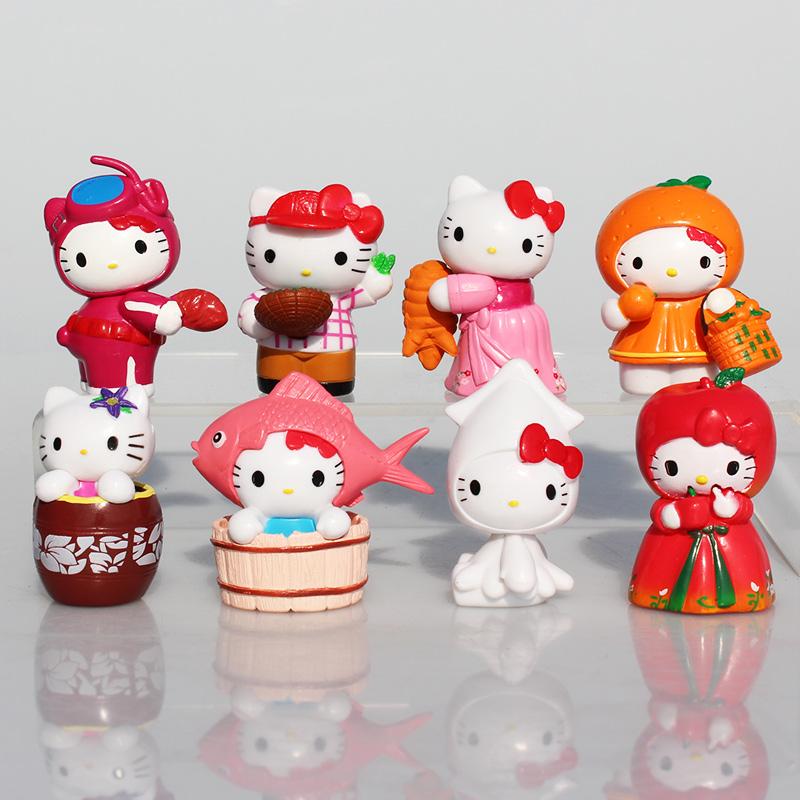 Anime Cartoon Kitty White Hellokitty Figures Hello Kitty PVC Action Figure Toys KT Cat Toy 8Pcs/Set 5.5cm Great Gift For Child(China (Mainland))