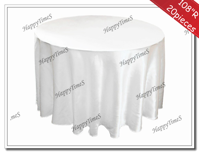 108'' Round Hot Sale 20 Pieces Satin Table cloth for Wedding & Banquet Round Tablecloth in white color free shipping to Russia(China (Mainland))