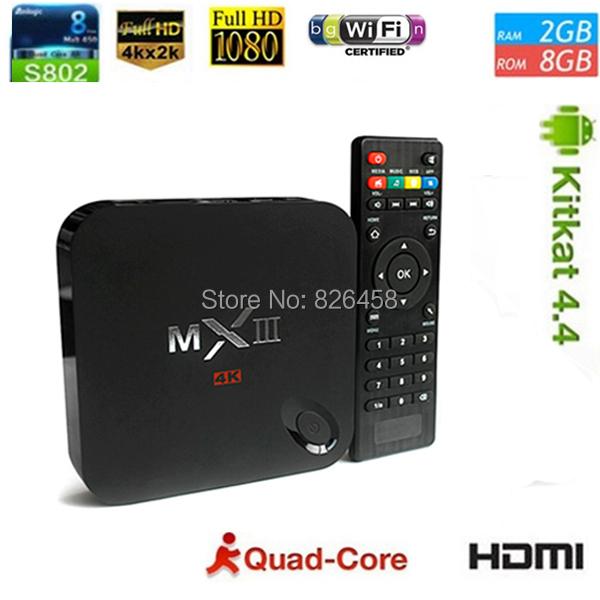 Original HDMI Andriod TV BOX MXIII Quad Core android 4.4 TV Box XBMC MX3 2GB/8GB ROM Amlogic S802,Wholesale Dropshipping(China (Mainland))