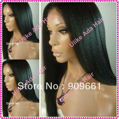 AAAAA New Kinky Straight-100% Indian Remy Human Hair Full Lace Wigs-Free Shipping