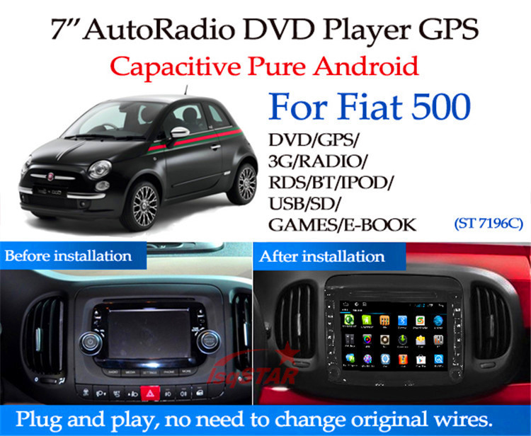 pure android 4 4 fiat 500 car dvd player with dvd. Black Bedroom Furniture Sets. Home Design Ideas