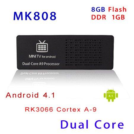 MK808 Mini PC RockChip RK3066 Dual Core Cortex-A9 1.6GHz RAM 1GB ROM 8GB Android 4.1 HDD Player Google TV Dongle Stick Internet(China (Mainland))