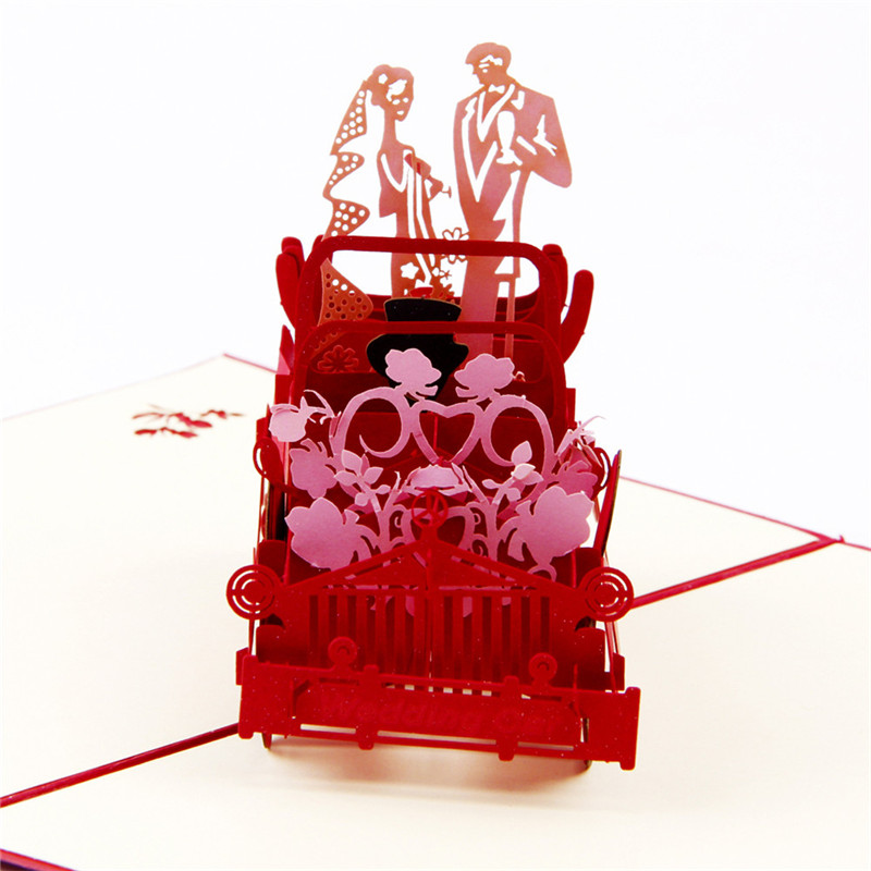 Red 3D Wedding Carriage Lovers Personalized Handmade Greeting Cards POP UP Invitation cards 1 - Paper Spiritz store