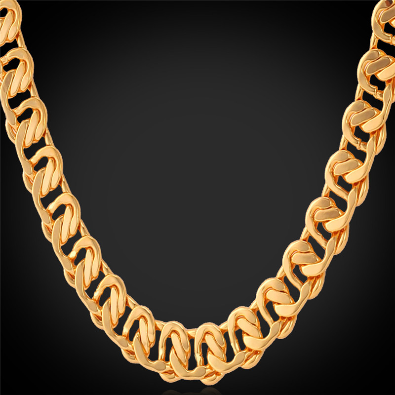 "Gold Curb Chain men Jewelry ""18K"" Stamp High Quality Gold Plated free shipping High quality Men Necklace Chain wholesale N6361(China (Mainland))"