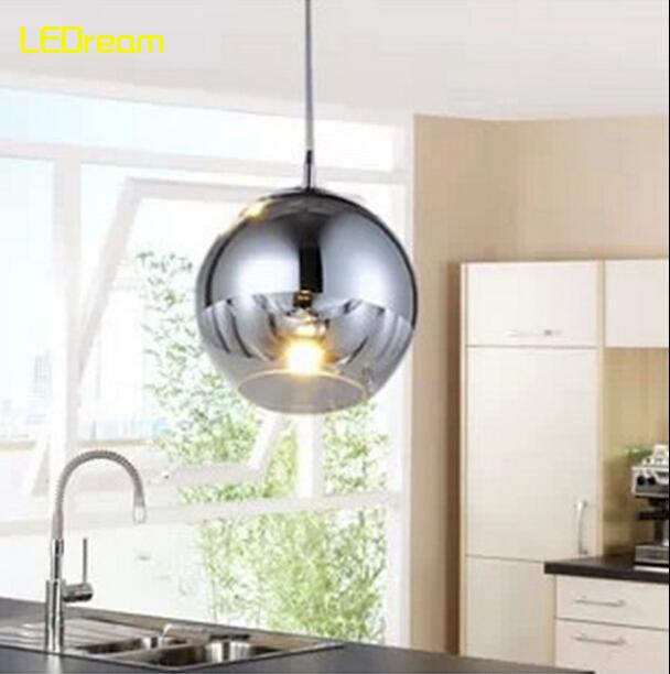 NEW Modern Tom Dixon Copper Shade Mirror Glass Ball Vacuum LED Pendant Light Lustre Ceiling Lamp Christmas Lighting fixture(China (Mainland))