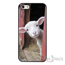 Lamb Cute Funny Face Farm Animal back skins mobile cellphone cases cover for iphone 4/4s 5/5s 5c SE 6/6s plus ipod touch 4/5/6
