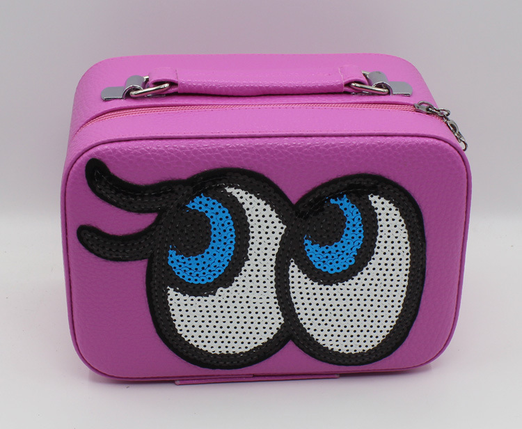 Mini Cosmetic Bag Portable Make-Up Box Cartoon Cute Cosmetic Cases Eyes Leather Cosmetics Organizers(China (Mainland))