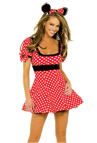 Free Shipping Hot Selling Birthday Party Fancy Cosplay Sexy Minnie Mouse Costume White Spot Short Dress Headwear QP-480(China (Mainland))