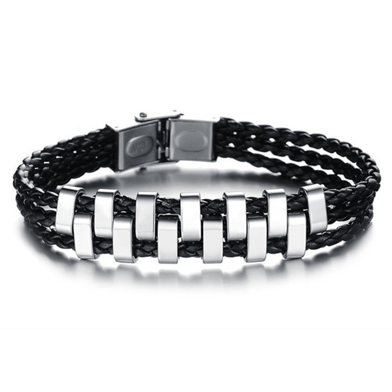 Multilayer Genuine PU Leather Bracelet 316L Stainless Steel Men Strand Bracelets Bangles Jewelry PH844(China (Mainland))