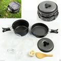 Worldwide 8pcs Backpacking Cooking Picnic Outdoor Camping <font><b>Hiking</b></font> Cookware Bowl Pot Pan Set camping tools