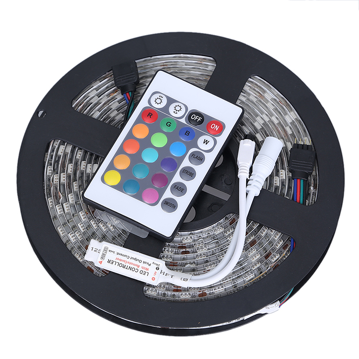 IP65 Waterproof 5050 RGB LED Strip 5M 300LEDs SMD+ 24Key IR Remote Controller Flexible Led Strip Light White Yellow Blue Red(China (Mainland))