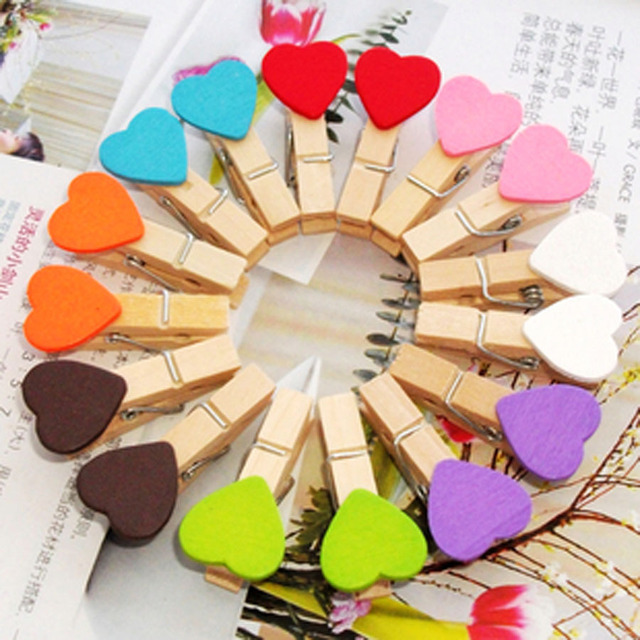 Wooden Mini Heart Pegs